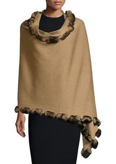 Neiman Marcus Rabbit-Fur Pom-Pom-Trim Knit Wrap