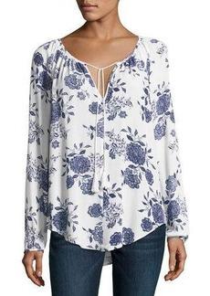 Neiman Marcus Raglan-Sleeve Floral-Print Top