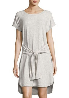 Neiman Marcus Raglan-Sleeve Wrap-Tie Dress
