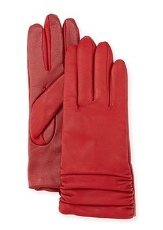 Neiman Marcus Ruched Leather Tech Gloves