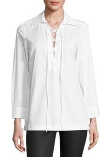Neiman Marcus Relaxed Lace-Up Tunic Top