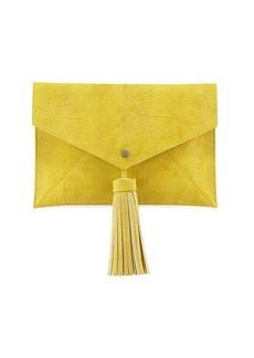 Neiman Marcus Reptile Tassel Envelope Clutch Bag