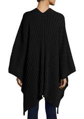 Neiman Marcus Rib-Knit Blanket Wrap