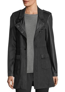 Neiman Marcus Ribbed Faux-Leather Jacket