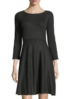 Neiman Marcus Ribbed Grommet-Laced Dress
