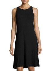 Neiman Marcus Ribbed Knit Swing Dress