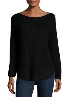Neiman Marcus Ribbed Long-Sleeve Pullover Sweater