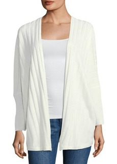 Neiman Marcus Ribbed Open-Front Cardigan