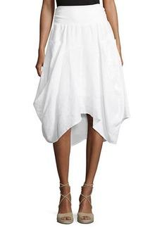 Neiman Marcus Ribbed-Waist Pull-On Linen Skirt