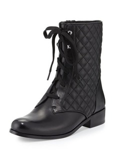 Neiman Marcus Riley Lace-Up Quilted Bootie