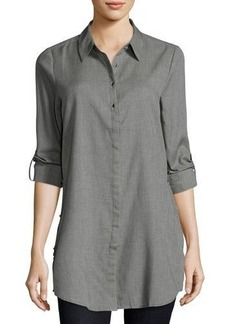 Neiman Marcus Roll-Tab Side-Slit Blouse
