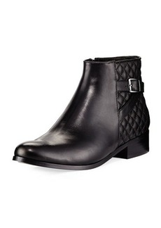 Neiman Marcus Rolly Low-Heel Napa Leather Bootie
