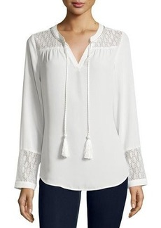 Neiman Marcus Rope Tassel Lace-Inset Tunic