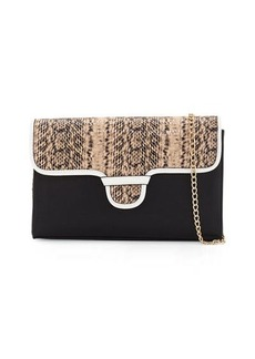 Neiman Marcus Rory Snake-Embossed & Colorblock Clutch Bag