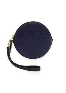 Neiman Marcus Round Calf-Hair Coin Purse