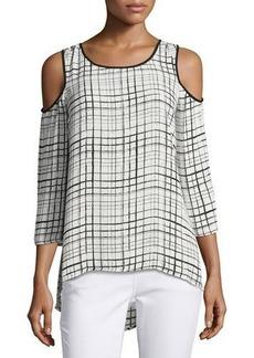 Neiman Marcus Round-Neck 3/4-Sleeve Grid-Print Blouse