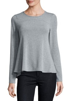 Neiman Marcus Round-Neck Long-Sleeve Swing Top