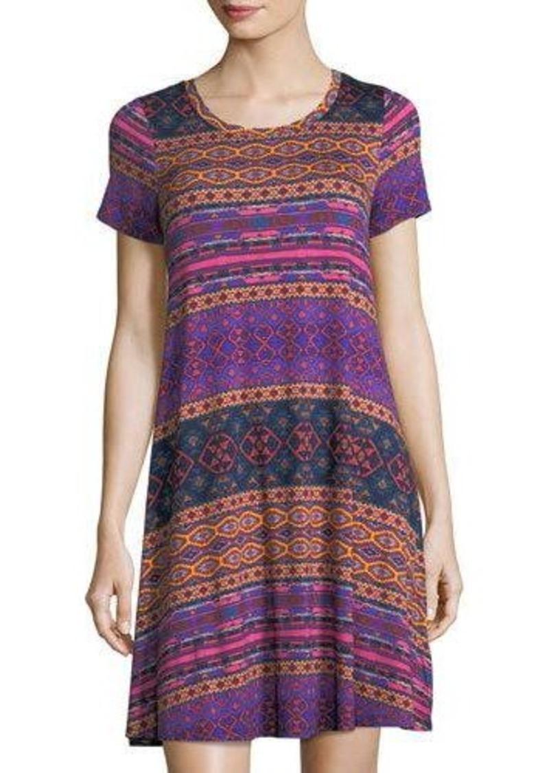 Neiman Marcus Round-Neck Short-Sleeve Graphic-Knit Dress