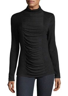 Neiman Marcus Ruched-Front Turtleneck Top