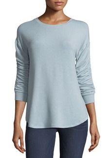 Neiman Marcus Ruched-Sleeve Soft Tunic