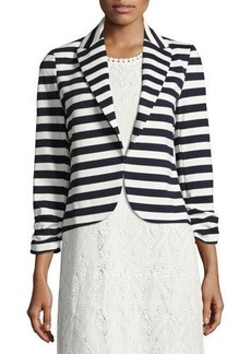 Neiman Marcus Ruched-Sleeve Striped Jacket
