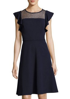 Neiman Marcus Ruffle-Sleeve Fit & Flare Dress