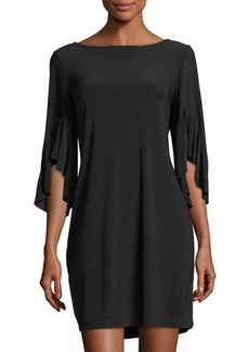 Neiman Marcus Ruffle-Sleeve Jersey Dress