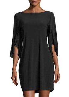 Neiman Marcus Ruffle-Sleeve Jersey Dress