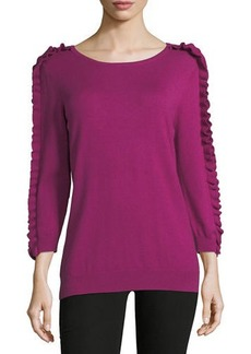 Neiman Marcus Ruffle-Sleeve Knit Sweater