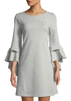 Neiman Marcus Ruffle-Sleeve Pearlescent Dress