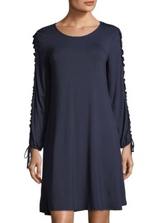 Neiman Marcus Ruffle-Sleeve Stretch-Knit Dress