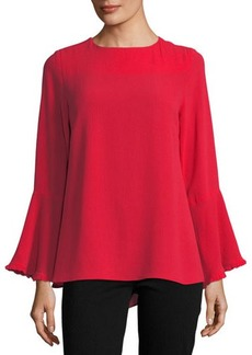 Neiman Marcus Ruffle-Trim Bell-Sleeve Blouse