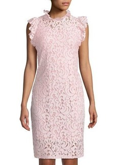 Neiman Marcus Ruffle-Trim Lace Mini Dress