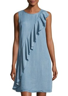 Neiman Marcus Ruffled Chambray Shift Dress
