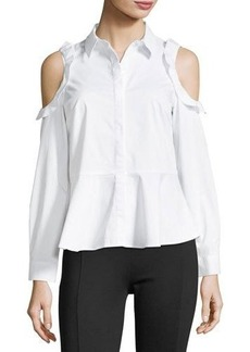 Neiman Marcus Ruffled Cold-Shoulder Blouse