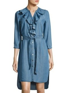 Neiman Marcus Ruffled Long-Sleeve Chambray Shirtdress