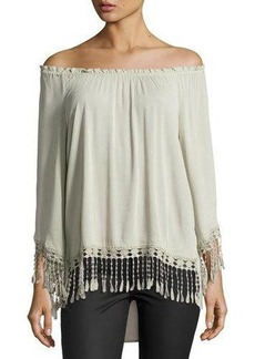 Neiman Marcus Ruffled Off-the-Shoulder Top