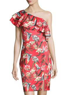 Neiman Marcus Ruffled One-Shoulder Floral-Print Sheath Dress