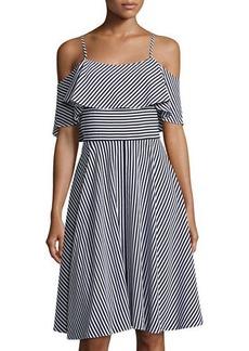 Neiman Marcus Ruffled-Popover Striped Dress
