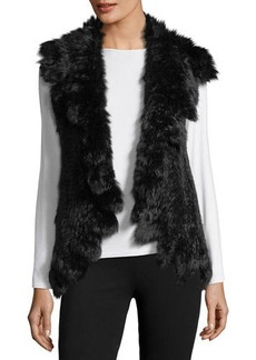 Neiman Marcus Ruffled Rabbit Fur Vest