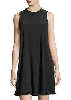 Neiman Marcus Rufle-Trim A-Line Jersey Dress