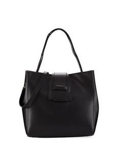 Neiman Marcus Ruga Smooth Leather Boxy Convertible Crossbody Satchel Bag