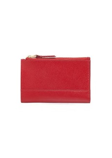 Neiman Marcus Saffiano Double-Zip Fold-Over Wallet