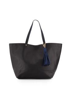 Neiman Marcus Saffiano Faux-Leather Tassel Tote Bag