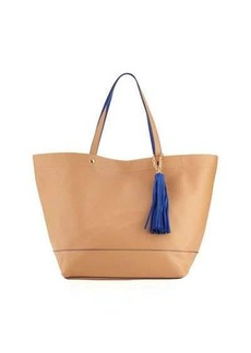 Neiman Marcus Saffiano Faux-Leather Tassel Tote Bag