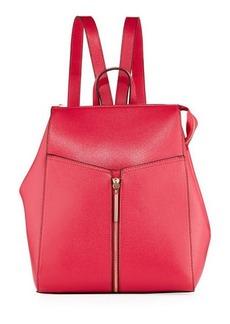 Neiman Marcus Saffiano Framed Zip Top Backpack