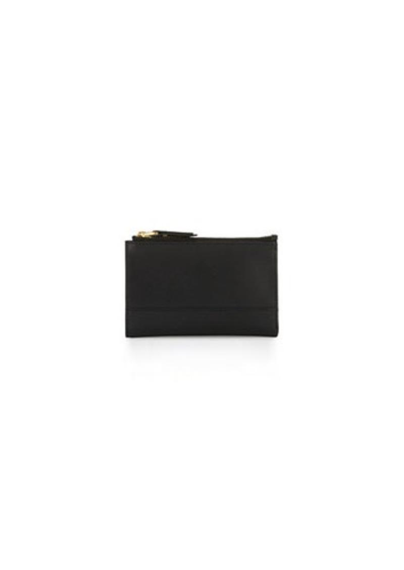 Neiman Marcus Saffiano Leather Double-Zip Wallet
