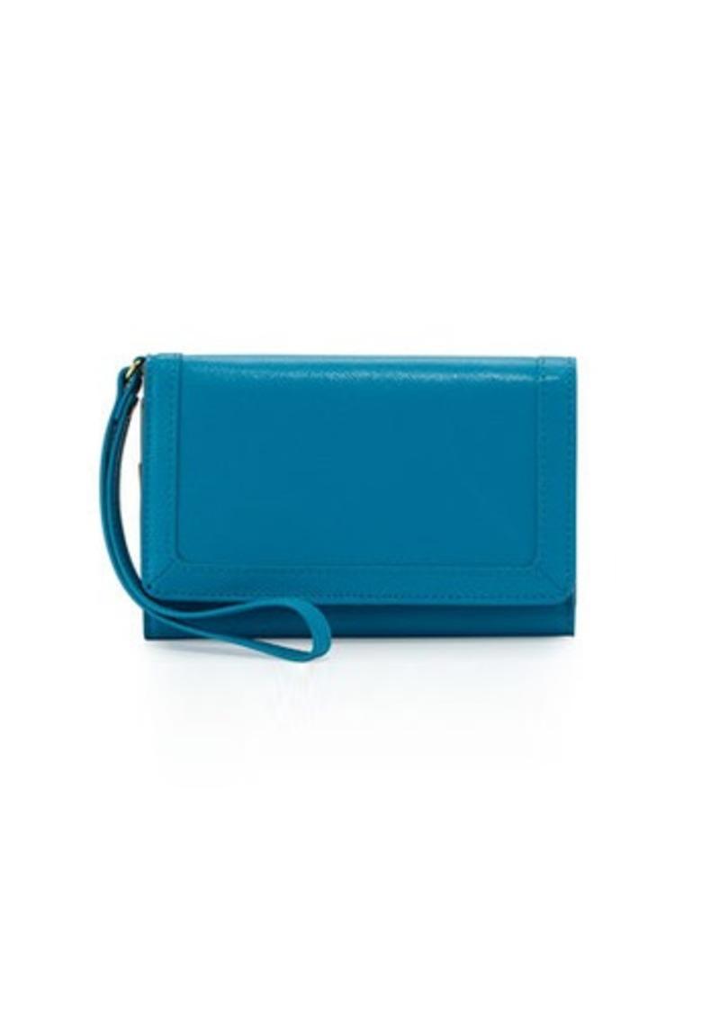 Neiman Marcus Saffiano Leather Phone Wristlet
