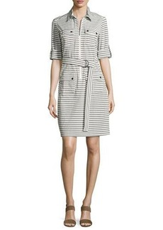 Neiman Marcus Saint Striped Shirtdress