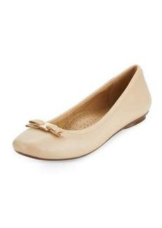 Neiman Marcus Salma Leather Bow Flat